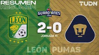 Resumen y goles   León 2-0 Pumas   Guard1anes 2020 Liga Mx - J11   TUDN