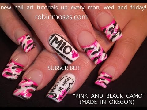 Pink Camo Nail Art Tutorial Cute Long Nails Hunting Design Youtube