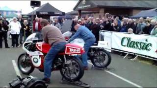 Triumph and BSA Rocket 3 Triple Race Bikes Revving Up.wmv