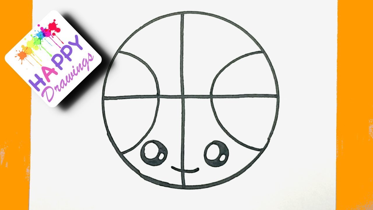 DRAWING FOR KIDS - HOW TO DRAW A CUTE BASKETBALL EASY STEP ...