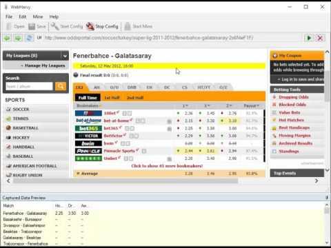 Scraping bet365 odds from oddsportal com using WebHarvy