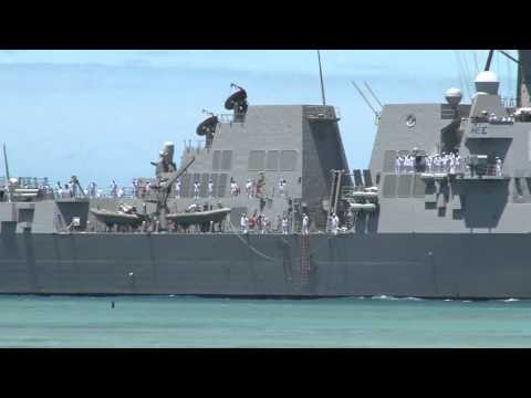 Guided Missile Destroyer USS Stockdale Crosses Pearl Harbor - RIMPAC 2012