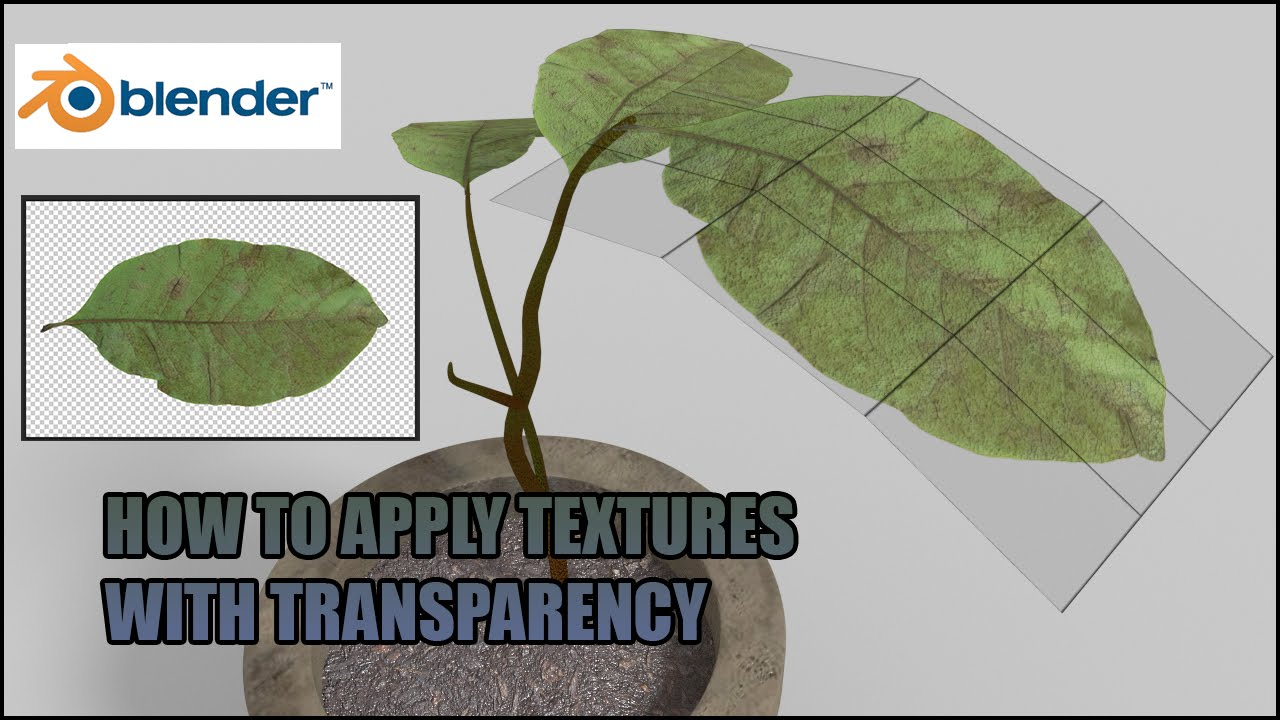 how to apply textures with transparency(alpha channel)blender tutorial