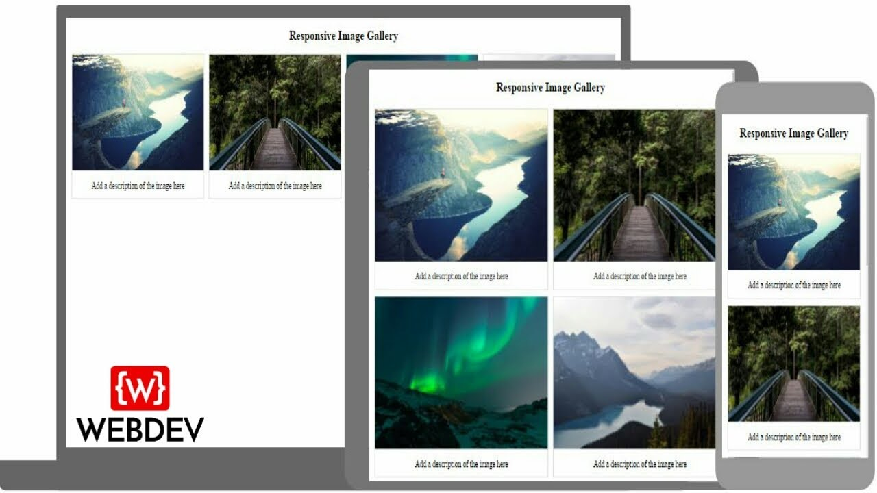 how to create responsive image gallery using html and css