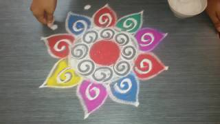 Easy way to draw diwali rangoli