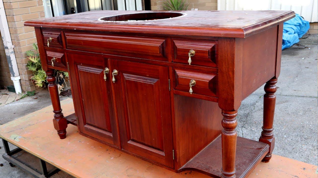 wood countertop for bathroom vanity Old Bathroom Vanity Makeover With A Reclaimed Wood Countertop