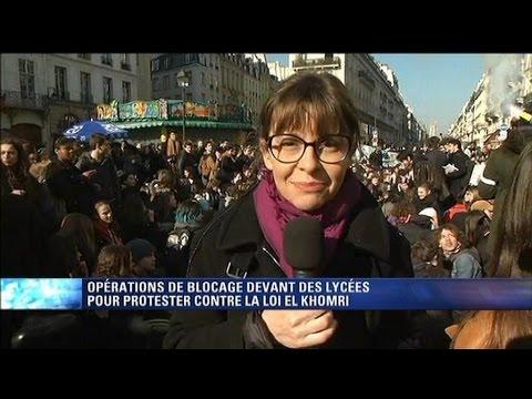 Loi Travail: les lycéens parisiens bloquent la rue de Rivoli