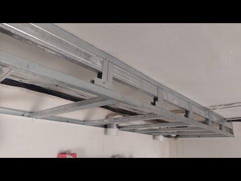 короб из гипсокартона для натяжного потолка, усиленный. Plasterboard Installation.