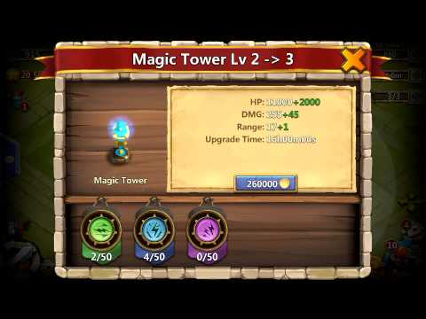 Castle Clash Upgrading Level 2 Magic Tower!