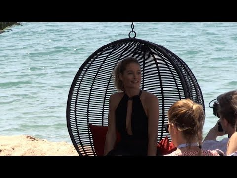 Doutzen Kroes photoshoot and interviews on the L'Oreal beach in Cannes