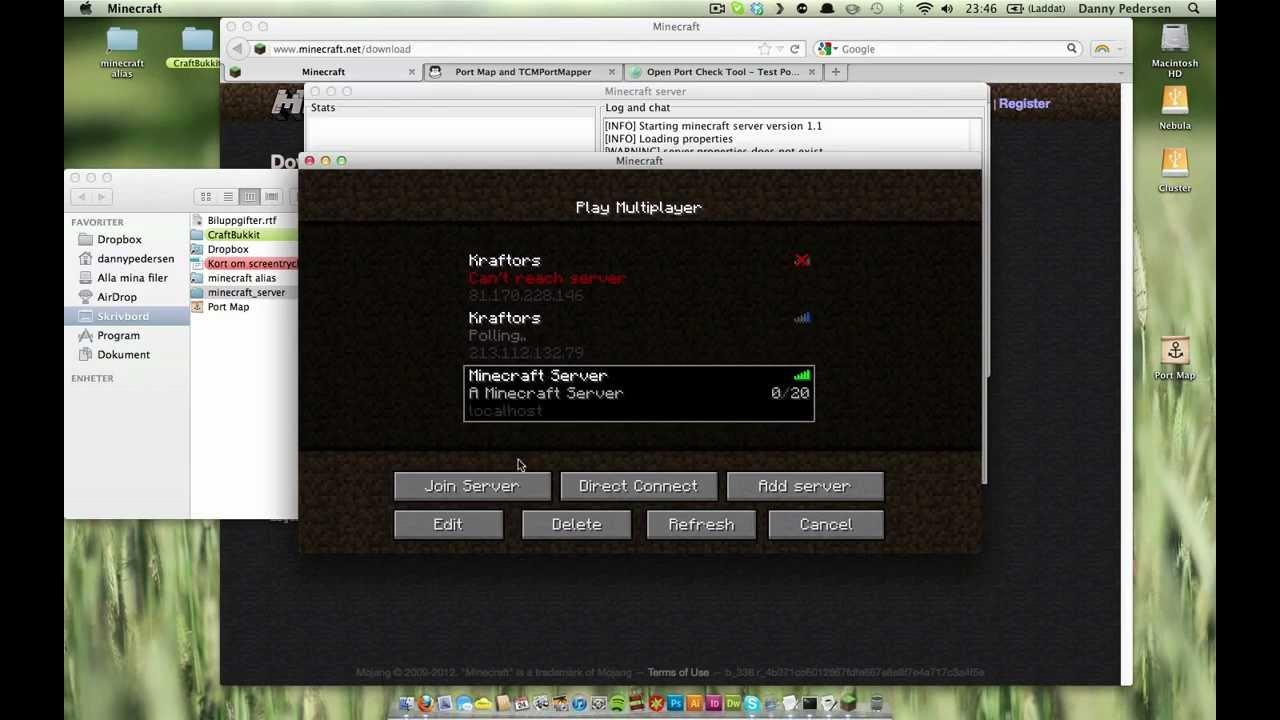 Starta Minecraft server på Mac OS X - Localhost och Port Map