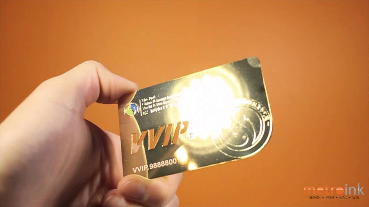 Metroink Gold Metal Business Card With Color Print, and Die-cut ...
