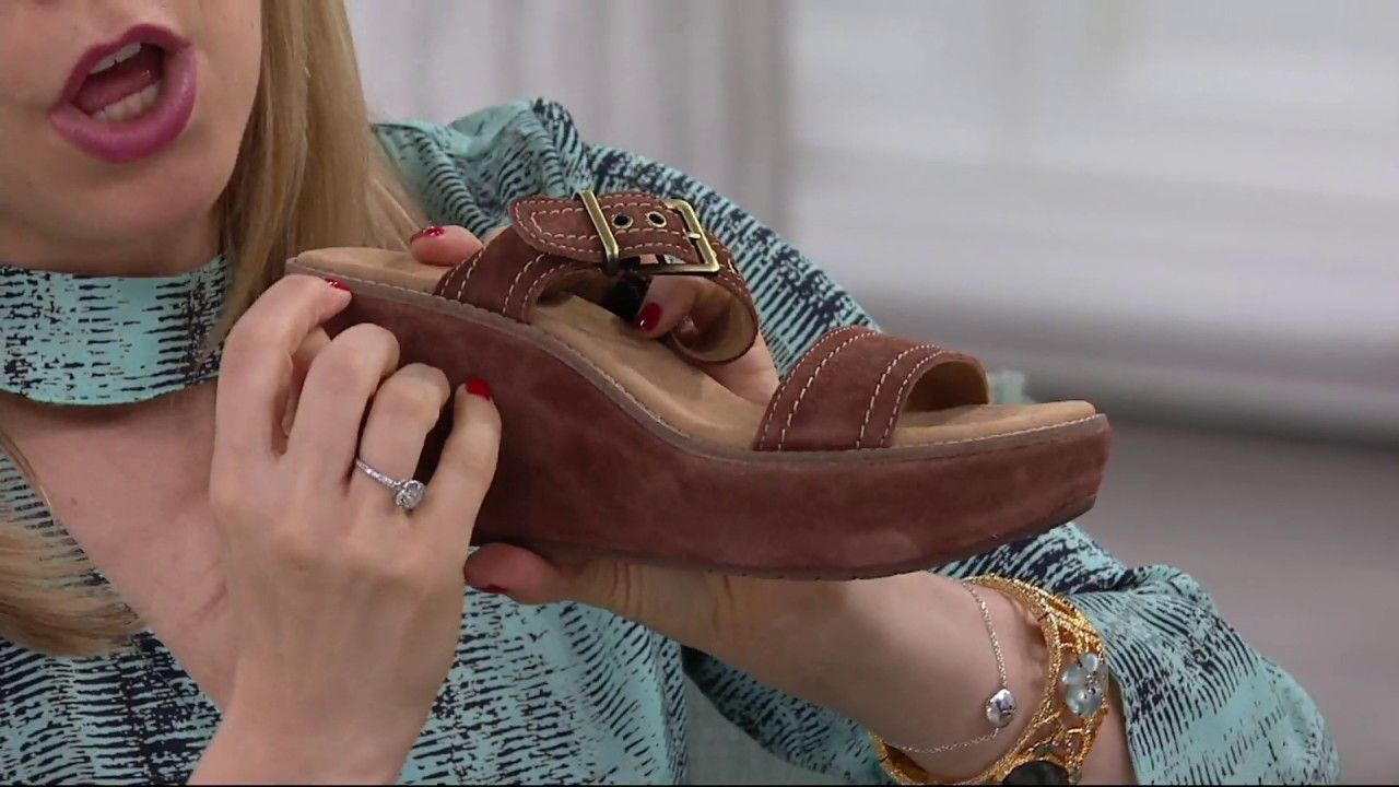 6b266edfcfc Clarks Artisan Suede Wedge Sandals - Aisley Orchid on QVC - YouTube