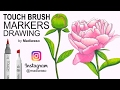 Как нарисовать пион маркерами Touch Brush / How to draw peony with markers Touch Brush
