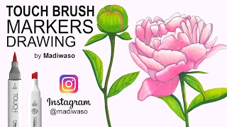 Как нарисовать пион маркерами Touch Brush / How to draw peony with markers Touch Brush