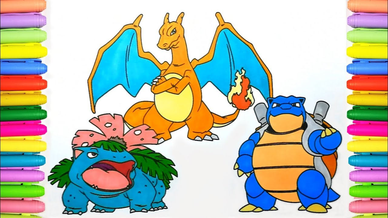 Pokemon coloring pages for kids - How to color Venusaur, Charizard ...