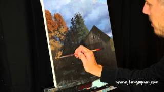 Early Autumn Days - an acrylic time lapse painting of barn, fall trees, clouds by TIm Gagnon