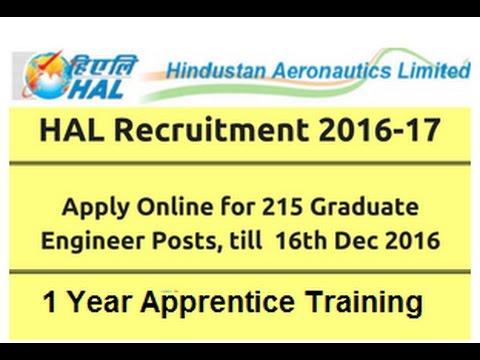 HAL Apprenticeship | 215 Apprenticeship Training VACANCY | LD - 16/12/16