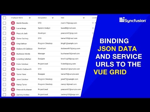 Binding JSON Data and Service URLs to the Vue Grid thumbnail