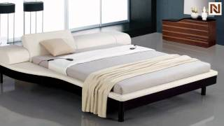 Portofino - White Adjustable Leather Bed With Built-in Nightstands Vgwcportofino-wht