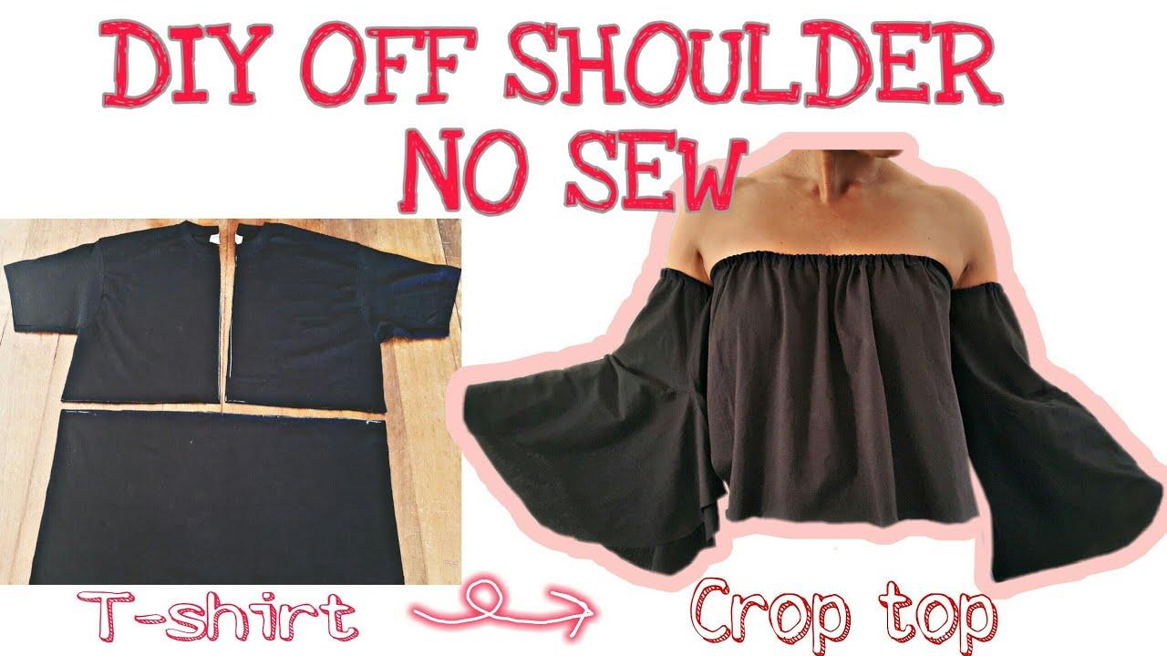 แปลงโฉมเสื้อยืดเป็นเกาะอกแขนกระดิ่ง ด้วยมือ | DIY CLOTHES Off shoulder bell sleeves