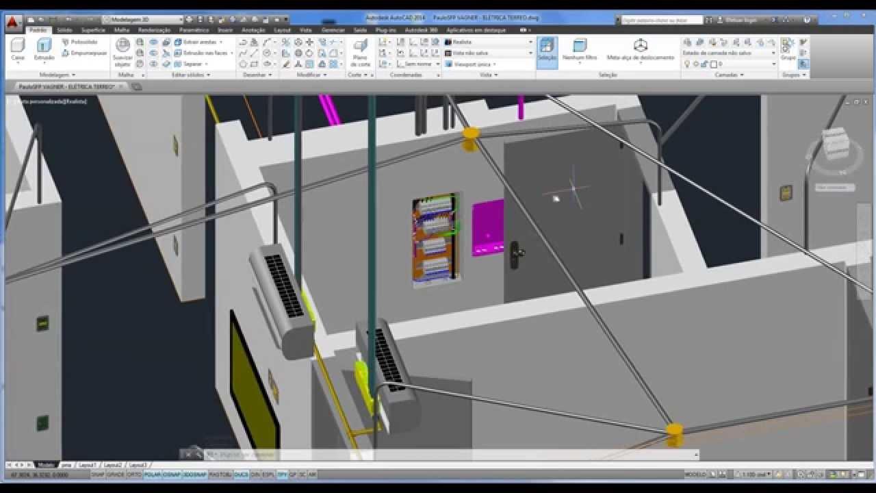 Projeto de instala o el trica em 3d pv t rreo youtube for Simulador interiores 3d
