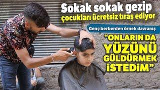 Diyarbakırlı Genç Berber, Sokak Sokak Gezip Çocukları Ücretsiz Tıraş Ediyor