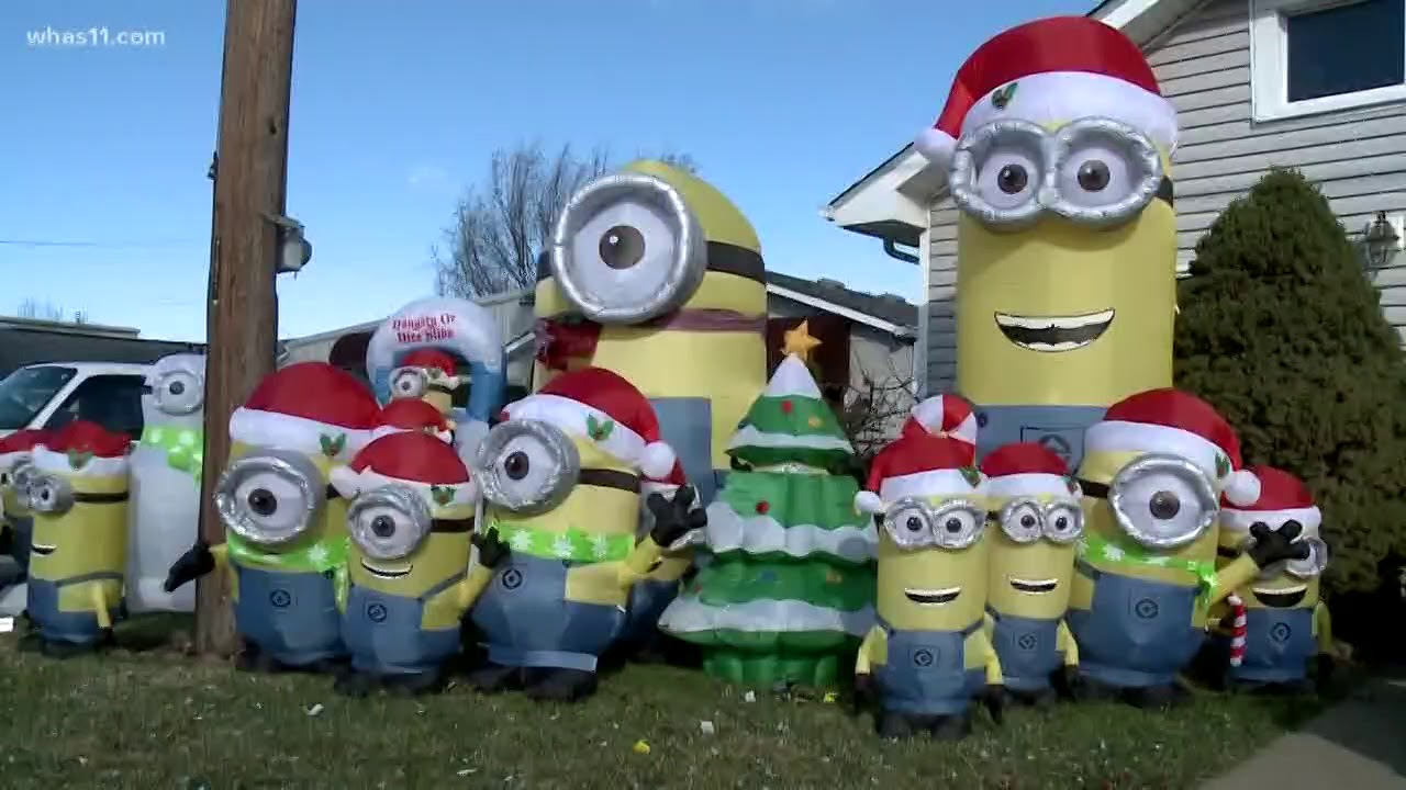 indiana man decorates yard with despicable me minions for holidays