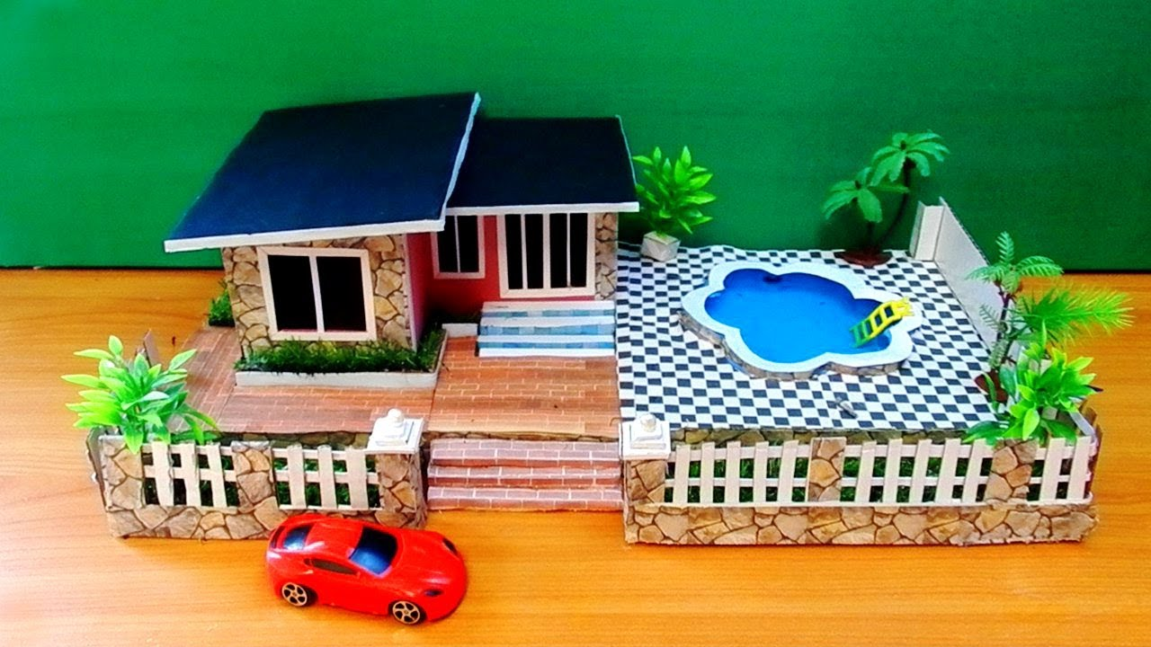 diy dollhouse with pool and garden