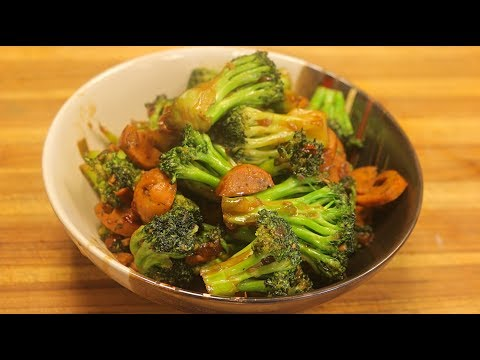 Broccoli Stir Fry w/natural chicken Sausage - healthy dinner recipes - fast chinese recipes