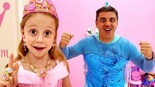 Nastya dan ayah berubah menjadi putri dan pahlawan super Disney
