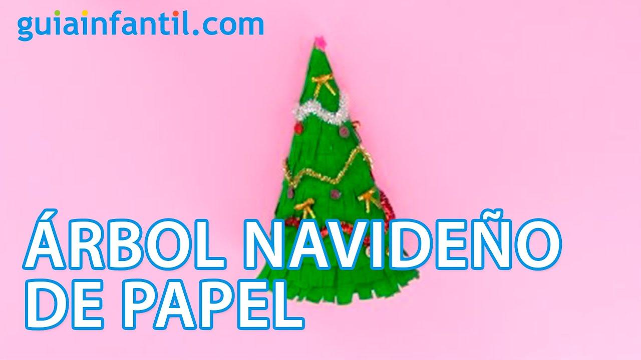 C mo hacer un rbol de navidad de papel manualidades - Manualidades navidad papel ...