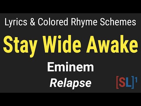 Eminem - Stay Wide Awake - [Lyric Video & Colored Rhyme Scheme]