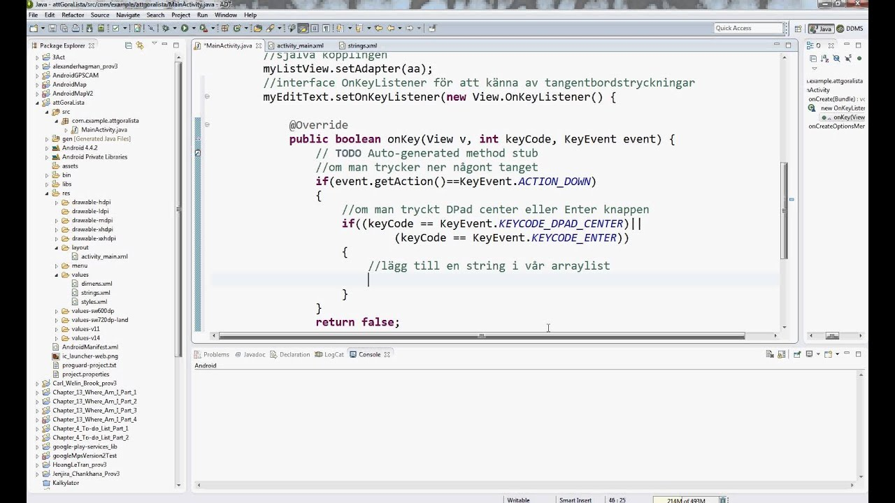 Programmering Android AttGöraLista del 2 OnKeyListener EditText