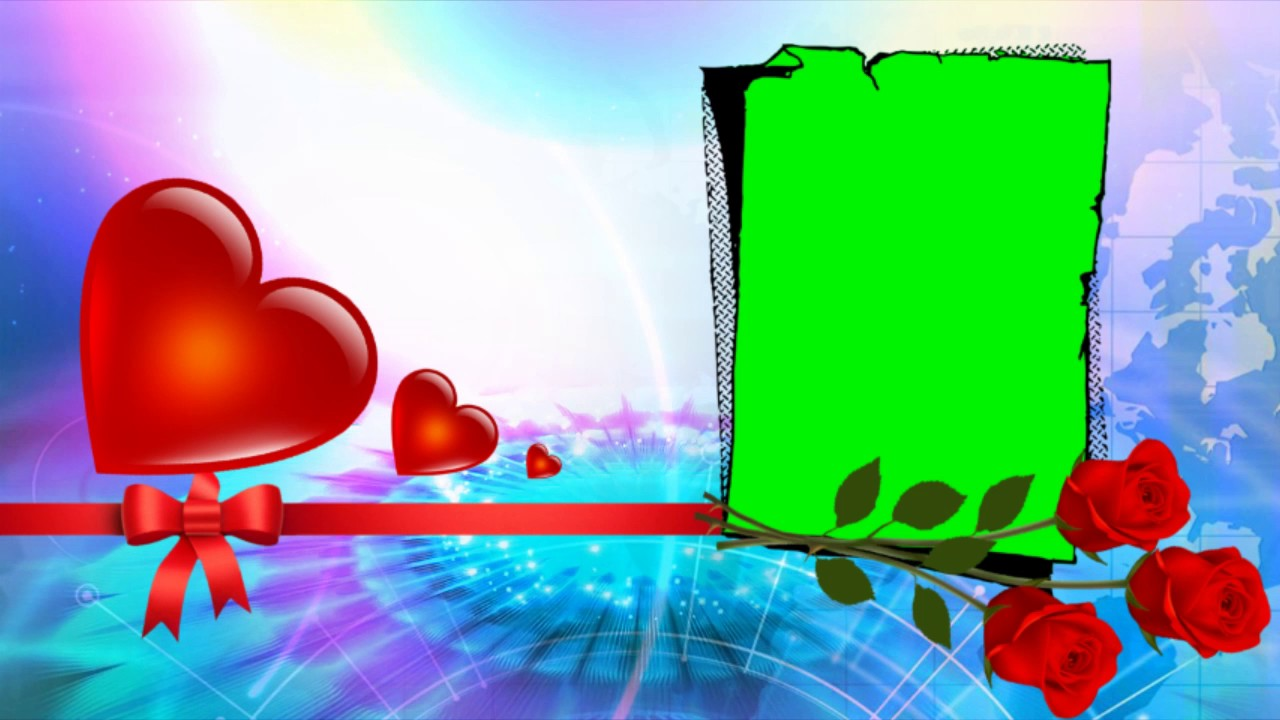 wedding frame with heart green screen background