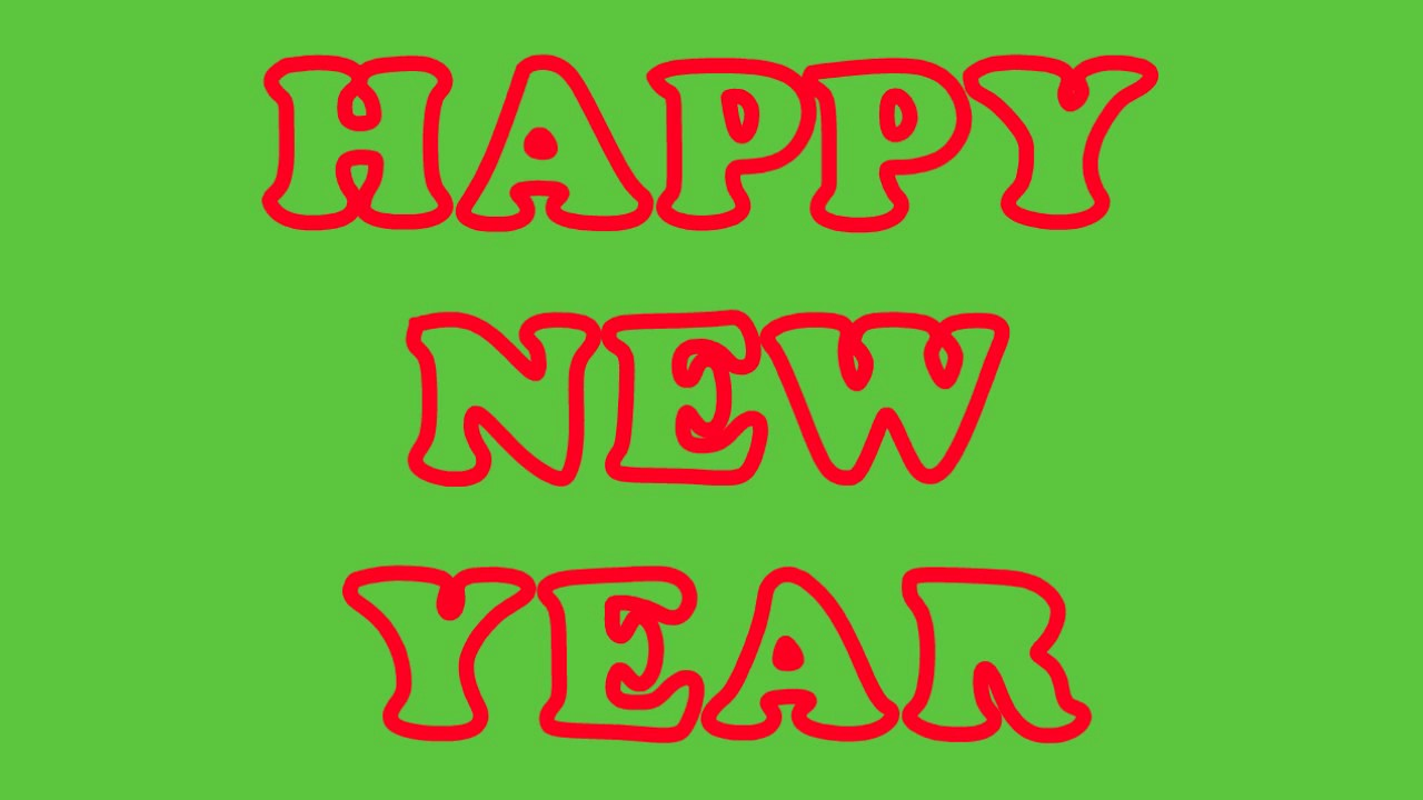 happy new year short version in red green screen