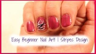 Easy Beginner Nail Art! | Stripes Design Thumbnail
