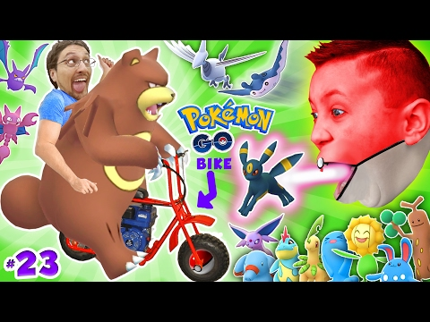 Thumbnail: GAMING on my MINI-BIKE! Father & Sons POKEMON GO Gen 2 Adventure w/ Little Hack Cheaters! FGTEEV #23