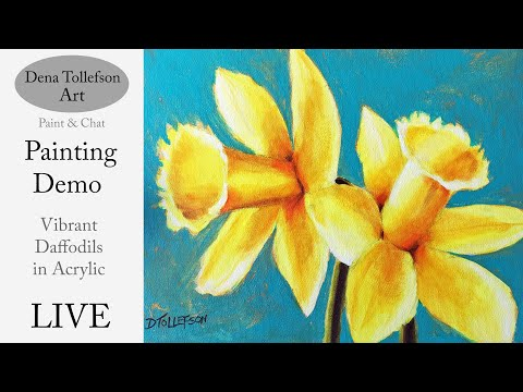 How to Paint Vibrant Daffodils LIVE Acrylic Painting Demonstration: Step by Step Painting Tutorial