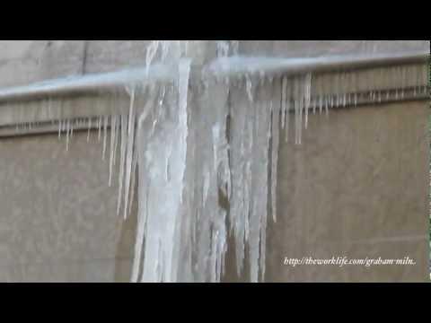 Frozen Overflowing Water Pipe in Lyon, France
