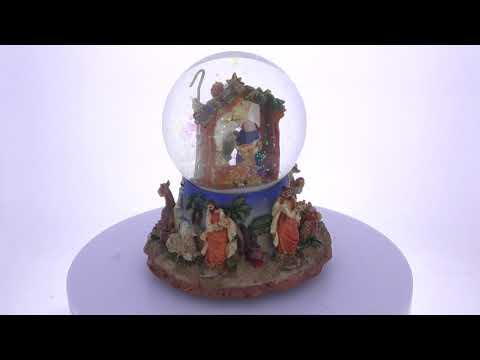 Nativity Scene with 3 Kings Figurines Holding Jewels Music Box Snow Globe