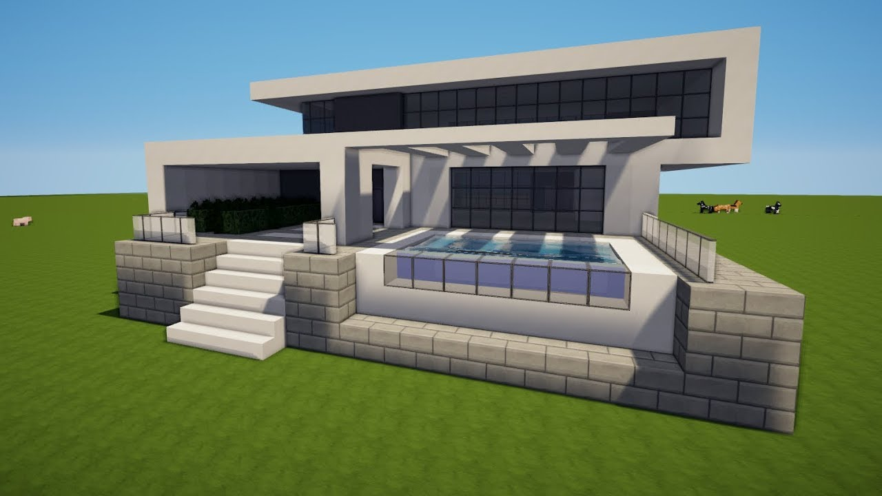 Minecraft modernes haus mit pool bauen tutorial haus 119 for Minecraft modernes haus tutorial
