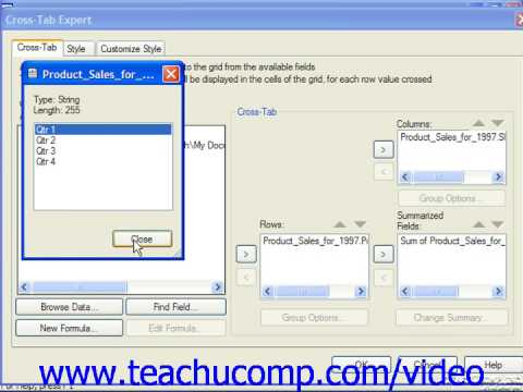 Crystal Reports Tutorial Creating Cross-Tab Reports Business Objects Training Lesson 13.8