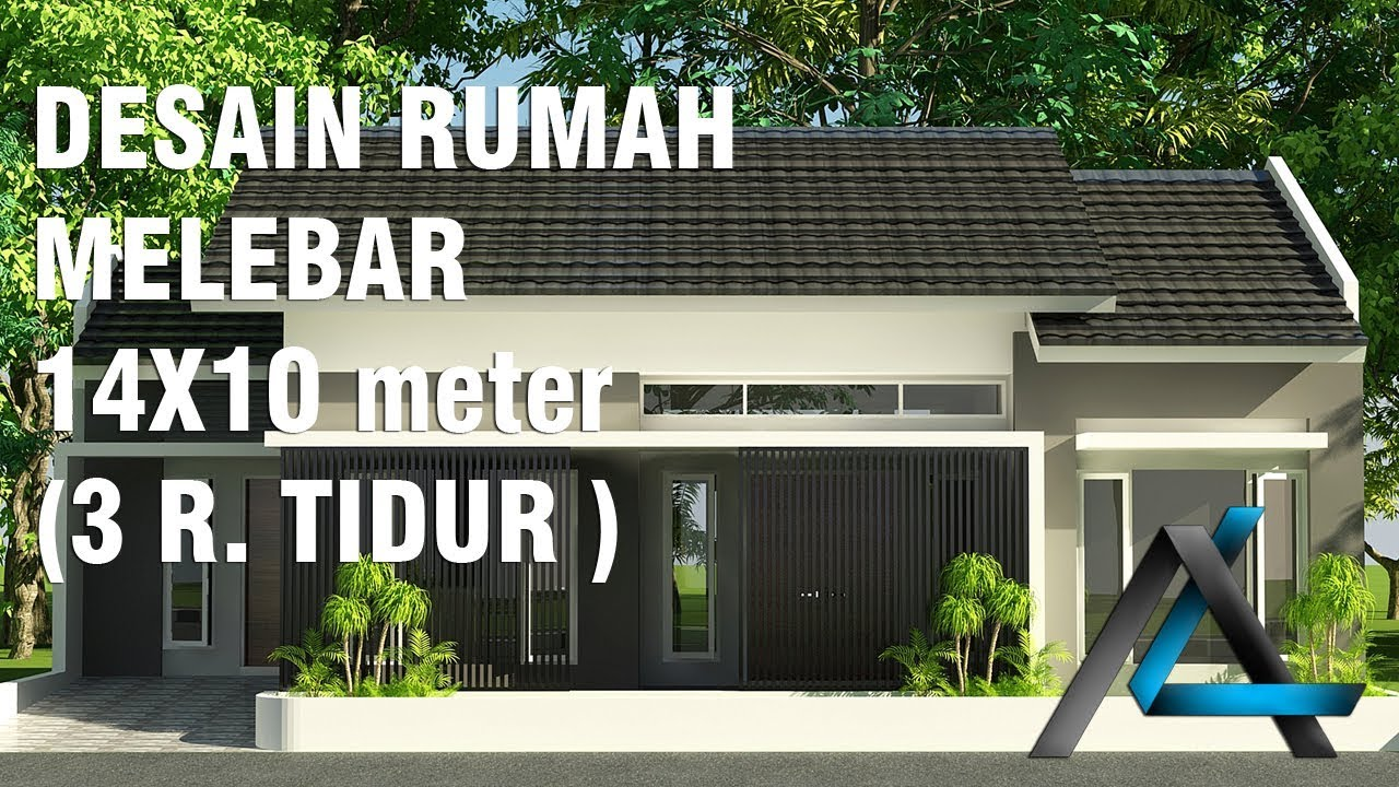 Desain rumah melebar 14x10 meter 3 ruang tidur YouTube