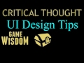 A Critical Thought on More Useful UI Tips for Video Games