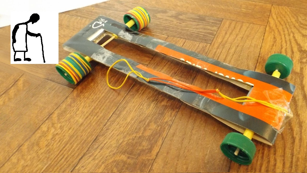 Rubber Band Powered Car Thin Card Bottle Tops Drinking