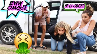 Getting CARSICK PRANK AND THROWING UP!!