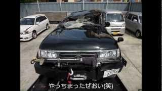 ランクル80横転クラッシュ LandCruiser80 Sideslip crash
