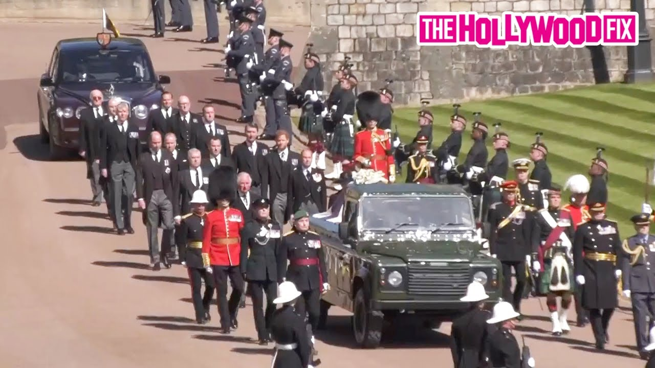 Queen Elizabeth, Prince Charles, Prince William & Harry Arrive To Prince Phillip's Funeral In The UK