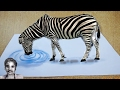 How to Drawing Cartoon Characters | 3D Zebra Drawing on Paper  ✔